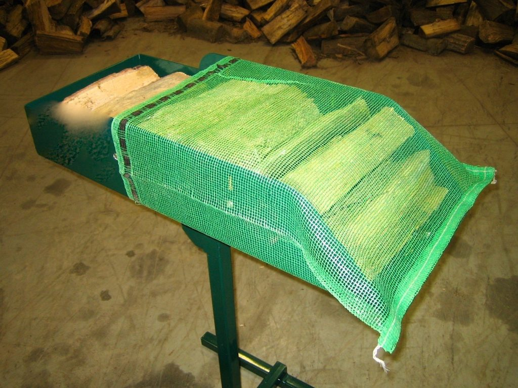 Firewood bag loading tray